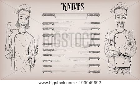 Kitchen tools knife knives utensils set: chef's peeling; woman and man chef cook happy smile portrait. Vector beautiful hand drawn illustration poster info graphics in black line
