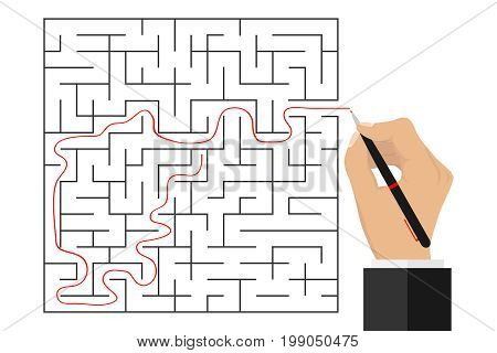 The hand traced the path through the labyrinth. Passage of the labyrinth. Flat design vector illustration vector.