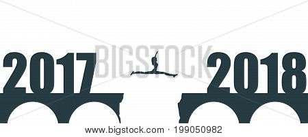 A woman jump between 2017 and 2018 years. Human silhouette jumping over a gap in the bridge