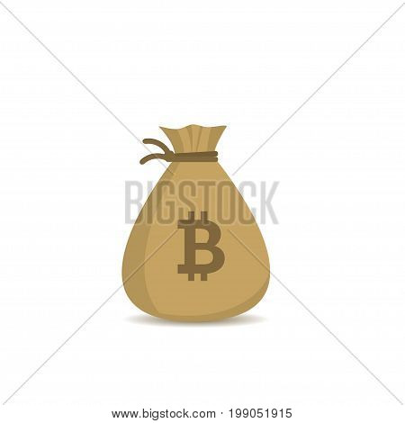 Money bag with bitcoin sign. Bitcoin cryptocurrency digital payment system