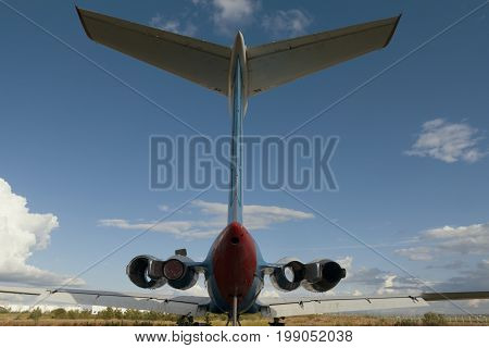 Dump of aircraft - the tail of the aircraft fuselage- vintage Soviet civil passenger airplane, wide angle