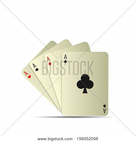 Poker playing cards isolated over white background. Set of four aces playing cards suits, Winning poker hand