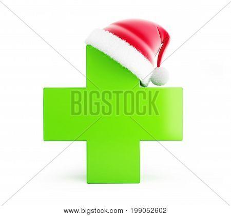 Christmas pharmacy santa hat on a white background 3D illustration