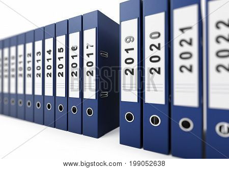 office folders new year 2018 on a white background 3D illustration