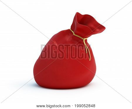 Santa Claus Bag on a white background 3D illustration.3D rendering