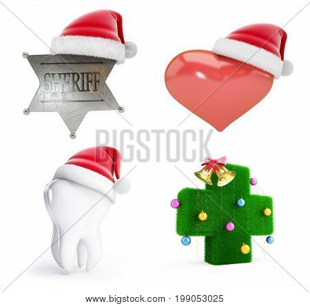 Christmas santa hat set on a white background 3D illustration 3D rendering