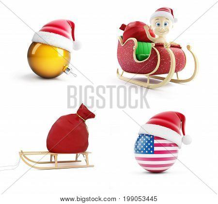 A santa bag a child on a Santa sled Santa's hat on a white background 3D illustration 3D rendering