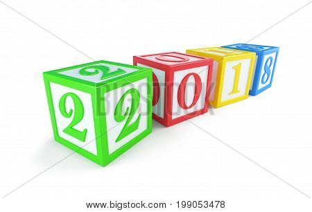 alphabet box 2018 new year's on a white background 3D illustration 3D rendering