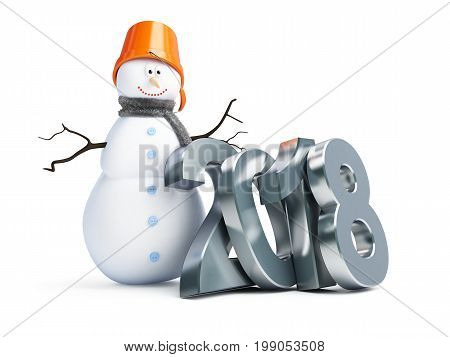 Merry snowman 2018 new year on a white background 3D illustration 3D rendering