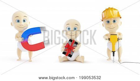 Child with a magnet a gift phone a worker with a jackhammer on a white background 3D illustration 3D rendering