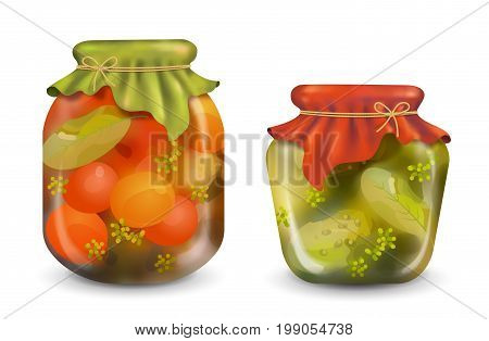 Vector homemade preserves in glass jar on a white background