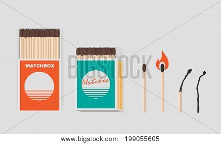 Match and matchbox set. Sticks in open cardboard packs. Matchstick with sulfur, burning and burned. Colorful flat vector illustration