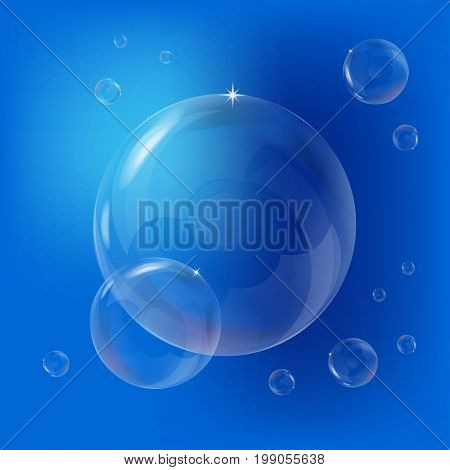 Soap bubbles. Clear soapy shiny, vector illustration