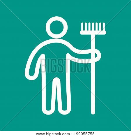 Mop, holding, man icon vector image. Can also be used for Cleaning Services. Suitable for mobile apps, web apps and print media.