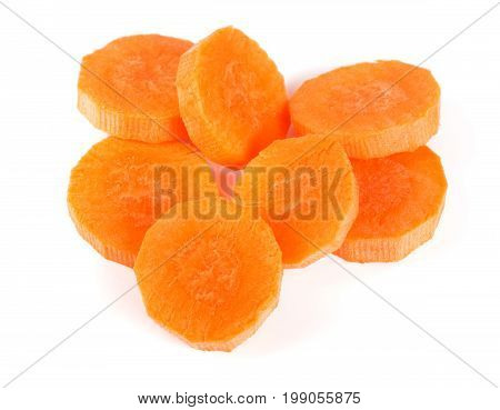 Chopped carrot slices isolated on white background.