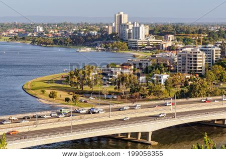 Narrows Bridge, Swan River and South Perth Esplanade photographed from Kings Park - Perth, WA, Australia