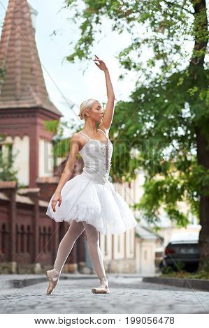 Elegant young female ballet dancer performing in the city posing gracefully sensuality dancing beauty elegance grace art concept.