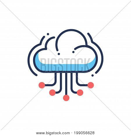 Web site hosting - modern vector single line design icon. An image depicting a cloud floating in the air releasing line connections to other users on a white background. Use it for your presentation.