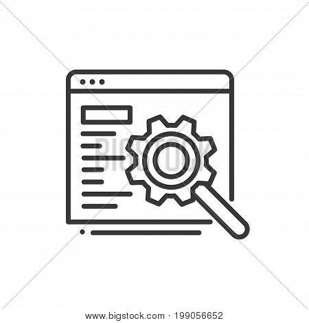 SEO - modern vector single line design icon. A black and white image depicting a window document with text, script with a mangifying glass, gear. Present search engine optimization.