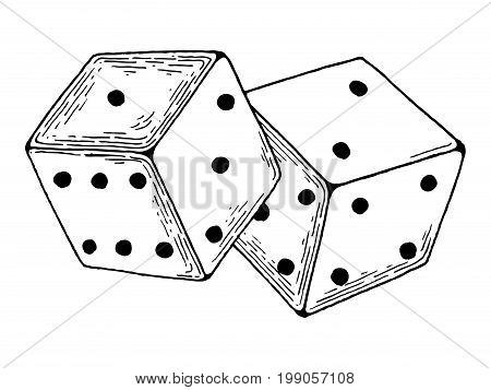 Dice game engraving vector illustration. Scratch board style imitation. Hand drawn image.