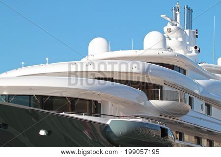 Super luxury yachts anchored in the harbor