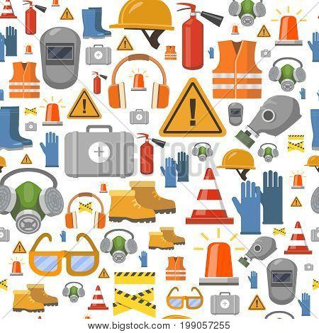 Job safety flat icons. Protective equipment seamless pattern . Workwear helmet, gloves, extinguisher, headphones illustration.