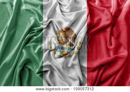 Ruffled waving Mexico flag national close up