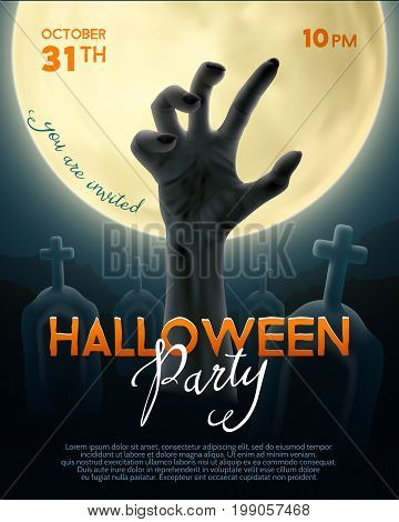 Halloween party invitation card. Undead hand on full moon and graveyard background with text. Vector illustration.