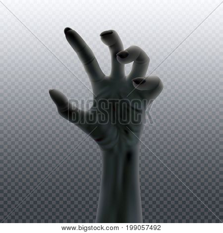 Undead hand isolated on transparent. Halloween vector design template illustration.