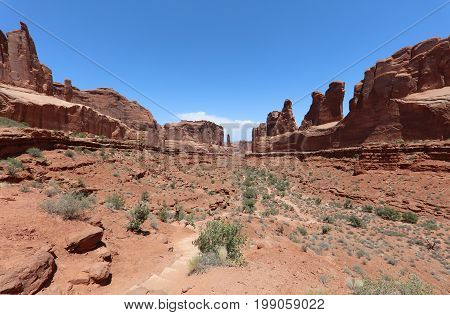 Park Avenue in Arches National Park. Utah. USA
