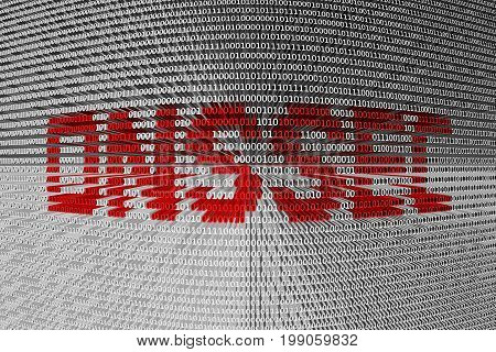 DNSSEC in the form of binary code, 3D illustration