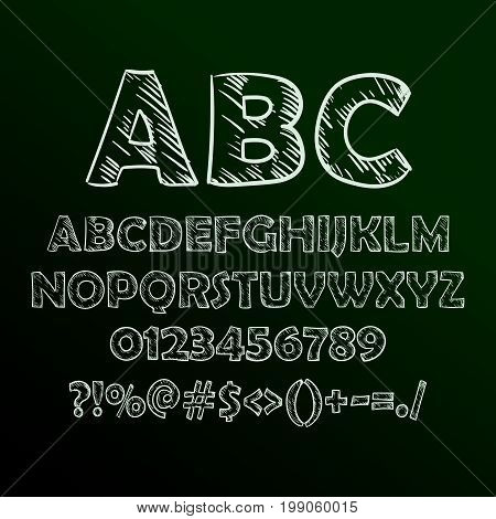 Abstract vector illustration of chalk sketched font on blackboard.