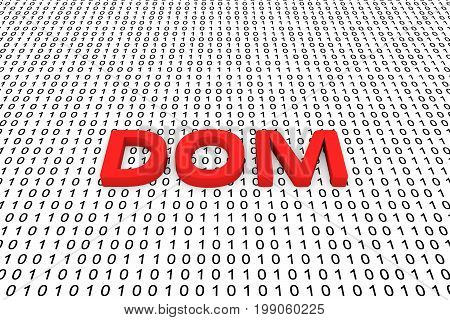 DOM in the form of binary code, 3D illustration