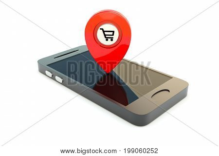 GPS on the smartphone shopping cart concept 3D illustration
