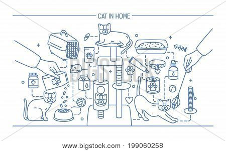 Cat in home contour banner with pet toys, meds and kitty meals. Horizontal outline line art vector illustration