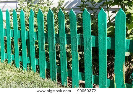 Green Fence From The Laths