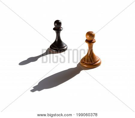 two chess pawns one casting a king piece shadow concept of strength and aspirations