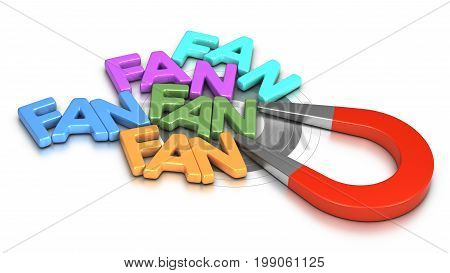 Horseshoe magnet attracting words fan over white background 3D illustration.