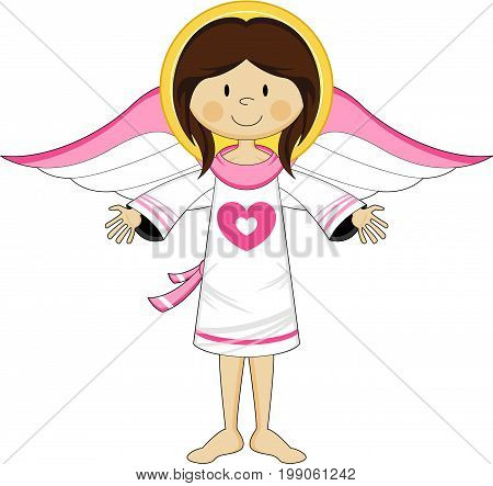 Cute Cartoon Angelic Angel with Wings Vector illustration