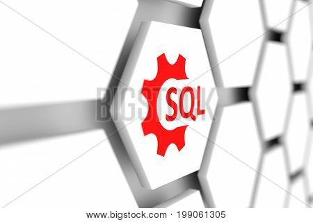 SQL cell wheel gear blurred background 3D illustration