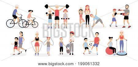 Family sports activity collection. Mothers and fathers with children set. Bosu, weightlifting, boxing, jumping rope, tennis, football, jogging, yoga cycling training Colorful vector illustration