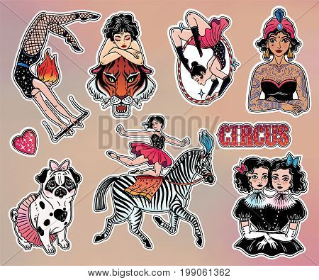 Set of vintage female circus characters in classic flash tattoo style patches or elements. Set of decorative circus lady stickers, pins. Pop art collection. Fashionable vector collection, vintage kit.