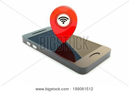 Wi Fi GPS on the smartphone concept 3D illustration