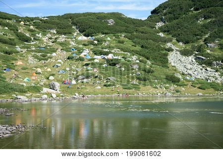 Camping in Rila mountine in Bulgaria East Europe