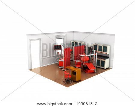 Isometric Dentist Office Red 3D Rendering On White Background No Shadow