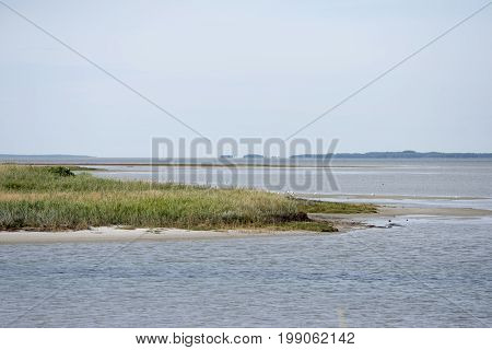 View from sand dune at Bloeden Hale over the beach Laesoe Island in Kattegat sea Denmark.