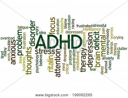 Adhd - Attention Deficit Hyperactivity Disorder, Word Cloud Concept 3
