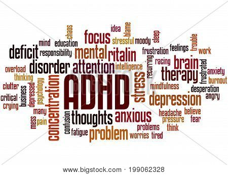 Adhd - Attention Deficit Hyperactivity Disorder, Word Cloud Concept 6