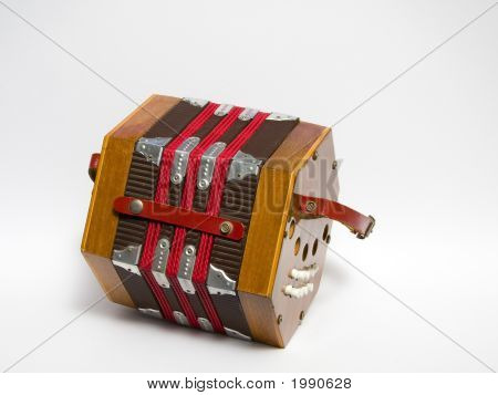 Vintage mini-accordion isolated on white background (2015) poster
