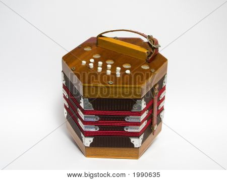 Vintage mini-accordion isolated on white background (2010) poster